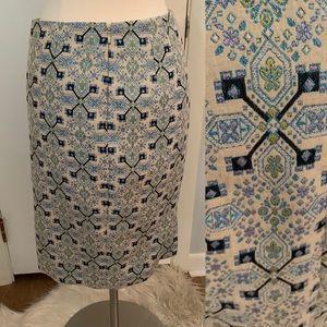 Aztec Print Pencil skirt Blue Black Purple Ivory 6